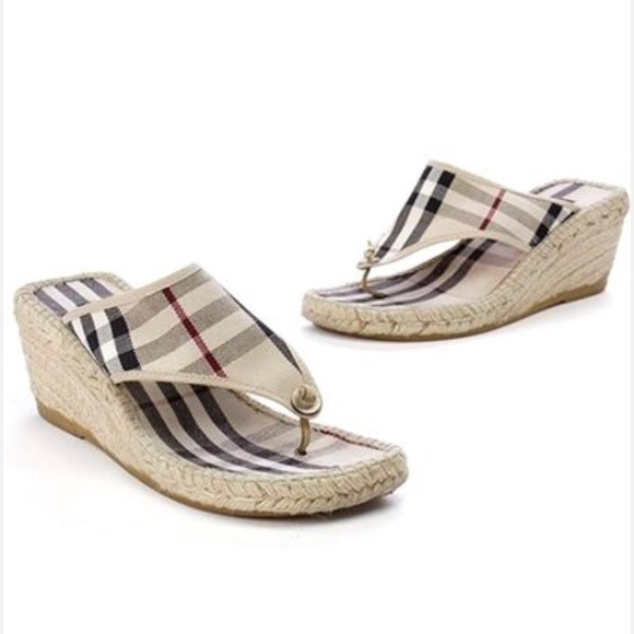 07635c2f4b7c Burberry Shoes - Burberry Nova Check Canvas Thong Espadrille Wedge